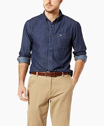 Indigo Mens Shirt - Dockers Men's Comfort Stretch Long Sleeve Button Front Shirt, Dark Indigo, X-Large