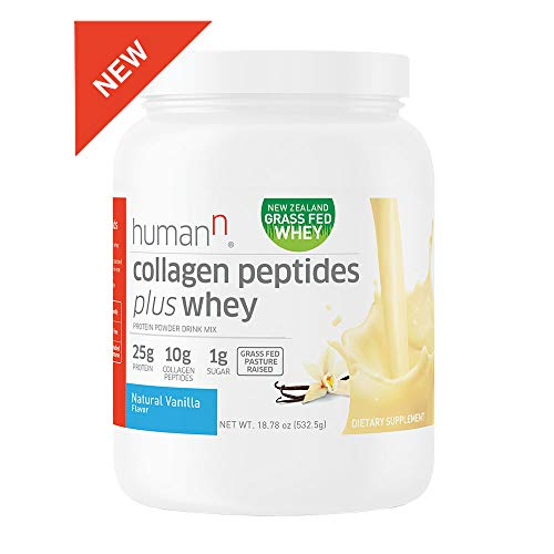 HumanN Collagen Peptides Plus Whey Low-Carb, Grass-Fed, Pasture-Raised, 10 Grams of Collagen Peptides Plus 15 Grams of Whey Protein, Gluten Free, Soy Free, Non-GMO, Type I and III Vanilla