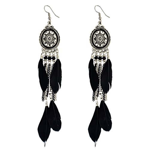Vintage Retro Boho Ethnic Silver Plated Alloy Chain Tassel Dangle Earrings Feather Fringe Drop Long Earrings (Black)