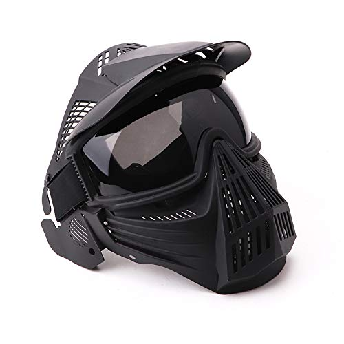 NINAT Tactical Paintball Mask, Airsoft Mask Full Face with Lens Goggles Eye Protection for CS Survival Games BBS Shooting and Other Airsoft Safety Mask Paintball Goggles-Black Greylens by NINAT