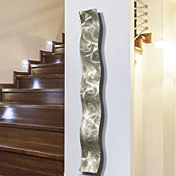 Silver 3D Abstract Metal Wall Art Sculpture Wave - Modern Home DÃcor by Jon Allen - 46.5 x 6