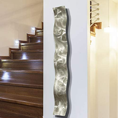 Silver 3D Abstract Metal Wall Art Sculpture Wave – Modern Home Decor by Jon Allen – 46.5 x 6