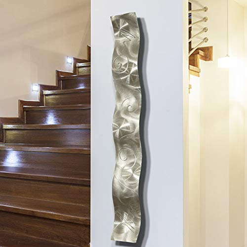 Silver 3D Abstract Metal Wall Art Sculpture Wave - Modern Home DÃcor by Jon Allen - 46.5
