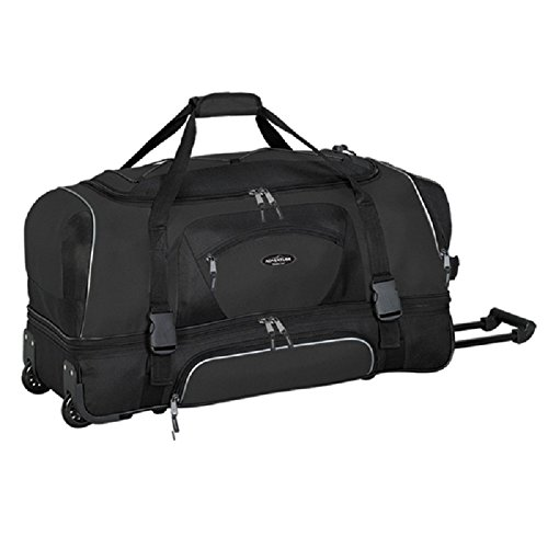Black 36-Inch Sports Pattern Oversize Carry On Rolling Upright Duffle Bag, Beautiful Sport Adventure Theme Duffel, Large Travel Duffel Bag, Wheeling Luggage, Shoe Pocket, MultiCompartment, Fashionable by DH