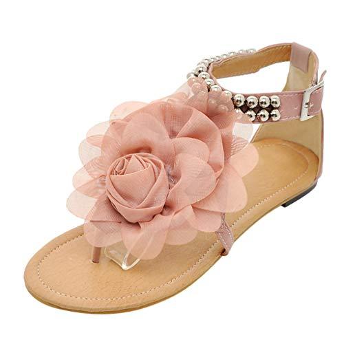 (JJLIKER Women Flower Beaded Beach Flip Flops Ankle Buckle Strap Shoes Fashion Vacation Comfort Flat Sandals Pink)