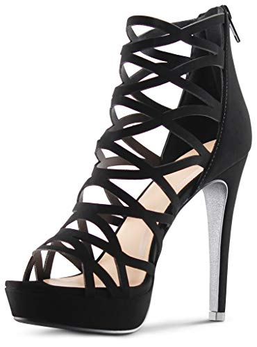 Womens Open Toe High Heels Platform Shoes Stiletto Dress Sandals - (Black) - 9 ()