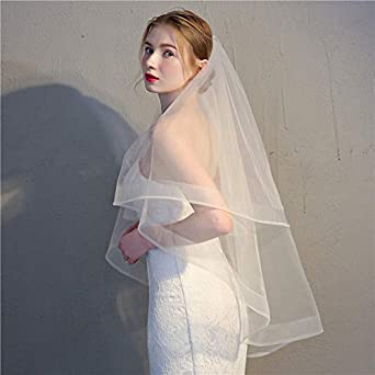Ivory White Fingertip Length Blusher Bridal Veil with Comb Short 2 Tier Horsehair Trim Bride Veil Wedding Veil