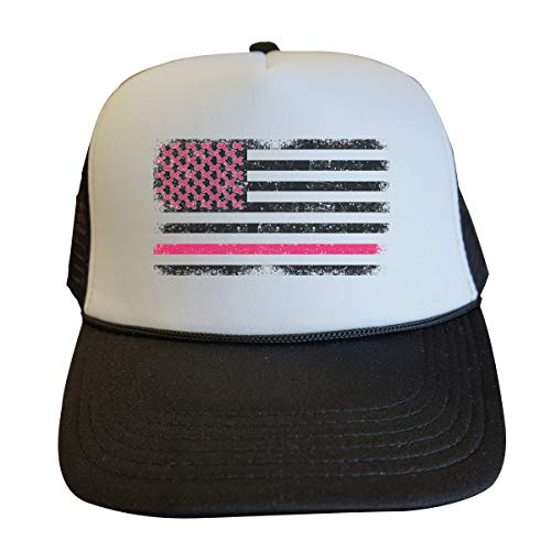 Support The Cause Trucker Hats Breast Cancer Awareness Royaltee Pink Flag Collection, Black