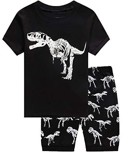 Boys Pajamas Dinosaur Glow in The Dark Short Pjs Toddler Pjs Clothes Kids Sleepwear Summer Shirts Size -