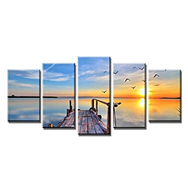 Wieco Art - Bridge under Sunrise Modern 5 Panels Stretched and Framed Giclee Canvas Prints Artwork Contemporary Seascape Sea Beach Pictures Paintings on Canvas Wall Art for Home office Decorations