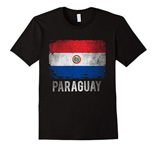 Paraguay Flag Colors - Mens Paraguay Flag Shirts Vintage Distressed T-Shirt. Large Black