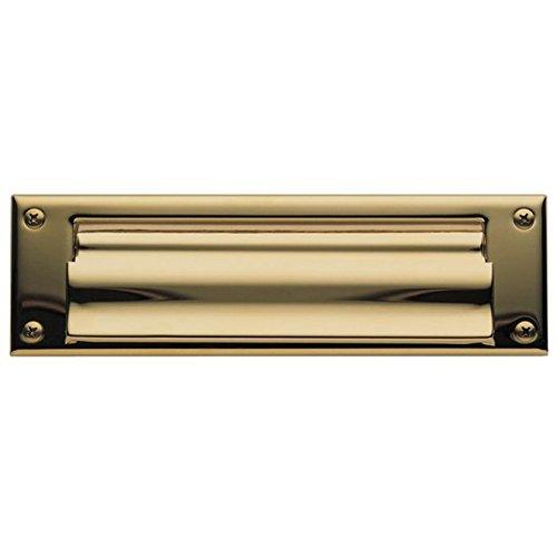 Baldwin 0015.003 Open Magazine Size Letter Box Plate, Lifetime Polished Brass Baldwin