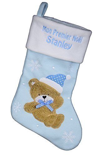 Chaussette de Noël Mon Premier Noël personnalisé avec broderie en bleu pour les garçons