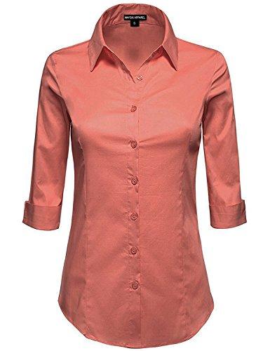 MAYSIX APPAREL Plus Size Womens 3/4 Sleeve Stretchy Button Down Collar Office Formal Shirt Blouse REDBEAN 2XL