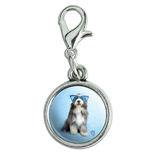 Graphics and More Sheepdog Bearded Collie Dog Giant Blue Sunglasses Antiqued Bracelet Pendant Zipper Pull Charm with Lobster Clasp
