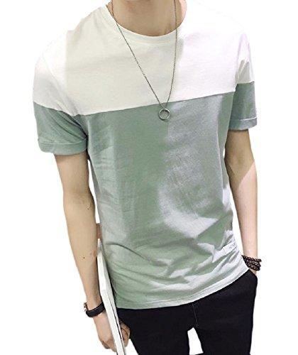 悪夢前任者説教する[Nexeed] メンズ tシャツ 半袖 無地 薄手 ツートンカラー カットソー シンプル