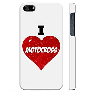 SudysAccessories I Love Heart Motocross iPhone 5 Case iPhone 5S Case - SoftShell Full Plastic Direct Printed Graphic Case