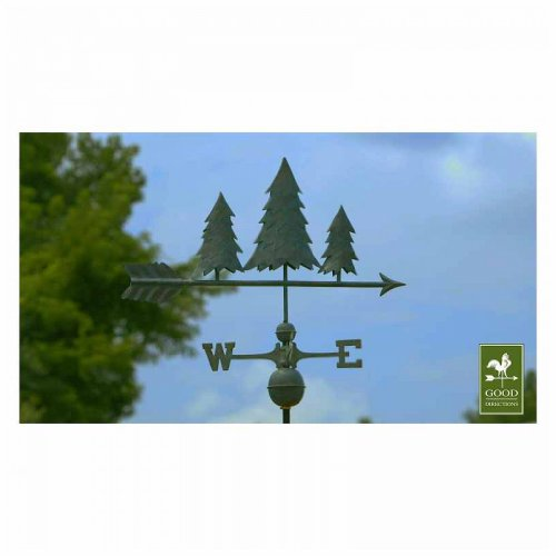 Good Directions Blue Verde Copper Pine Trees Weathervane