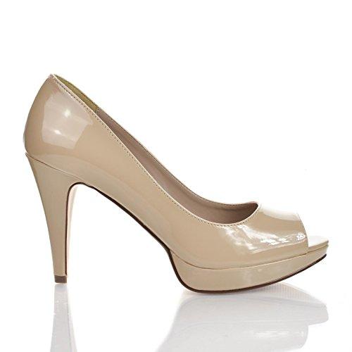 Chess Women Dress Pump Open Toe Platform High Heel Office Shoes (6 M US, DkBeige PT)