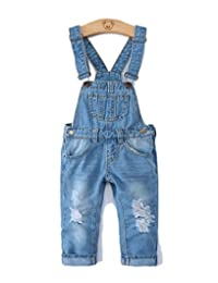 Girls Ripped Holes Stretchy Big Bibs Soft Jeans Overalls