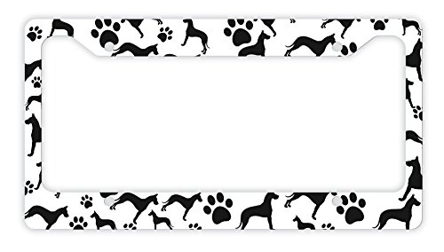 - ThisWear Great Dane License Plate Frame Dog Silhouette Paw Print License Plate Frame Great Dane Gifts Dog Lovers Novelty License Plate Great Dane