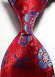 Jacob AleX #47197 Costume Pattern Blue Red Flower JACQUARD WOVEN Necktie