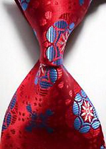 [Jacob AleX #47197 Costume Pattern Blue Red Flower JACQUARD WOVEN Necktie] (Optimus Prime Costume 2016)
