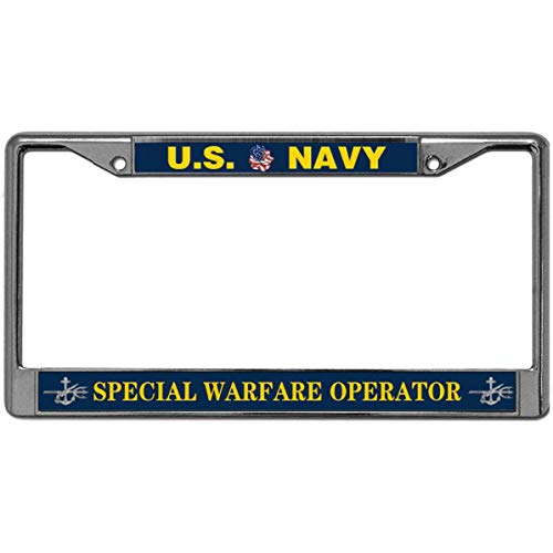 GND Warfare Operator Navy 2 Hole Car License Plate Covers,United States Navy Black Stainless Steel License Plate Frame for USA Auto Car Truck SUV