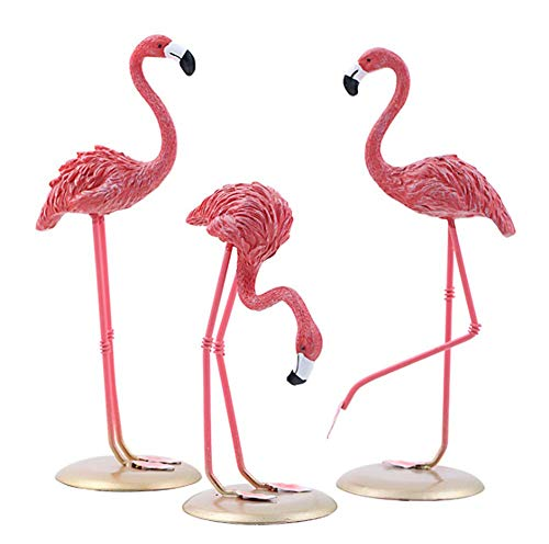 1A2B3C Mini Flamingo Yard Ornaments Statues,Bright Pink Resin Composites Flamingo Set of 3, Make Great Home Garden Décor (Pink-Set of 3)