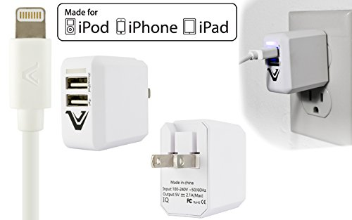 Apple Certified 2.1 AMP 2in1 Rubberized Durable Home Wall Charger Adapter + 6 FT USB Lightning Cable for iPhone 8, 8 Plus, X, 5 5S 6, 6S, 6 Plus, 6S Plus, 7, 7 Plus iPad iPod Touch 5 6 iPod Nano 7