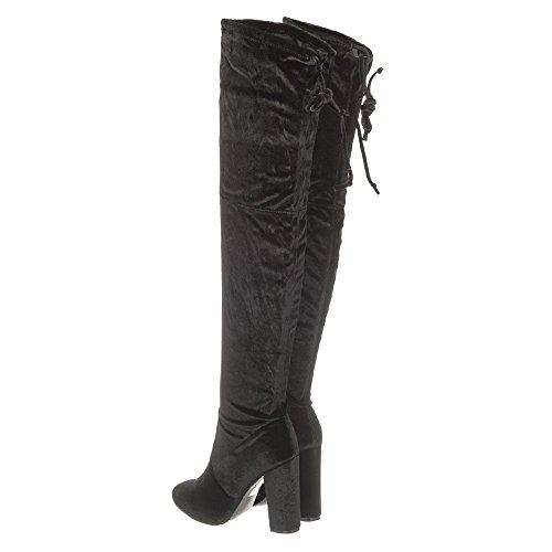 Black Velvet Velvet Block Knee Heel Boot CASSIEOver 8qnXBvwHx