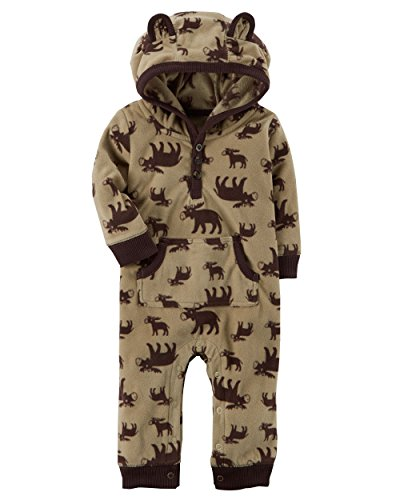 Carters Moose - Carter's Baby Boys Fleece Hooded Romper Jumpsuit, Moose, 12 Months