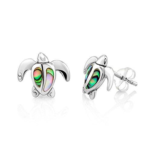 925 Sterling Silver Abalone Shell Sea Turtle Stud Earrings Abalone Turtle