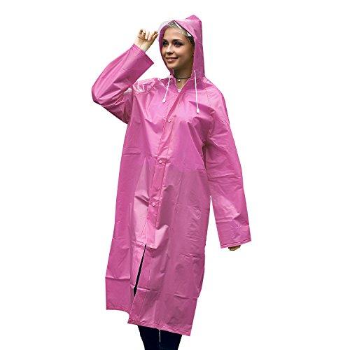 Unigear Portable Raincoat Rain Poncho with Hood and Sleeve (Pink, L) (Slicker Rain Women)