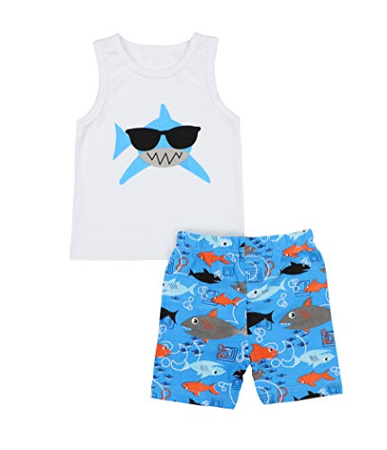 Baby Boy Girl Clothes Shark Print Summer Cotton Sleeveless Outfits Set Tops and Short Pants for 6 12 18 24 Months Blue
