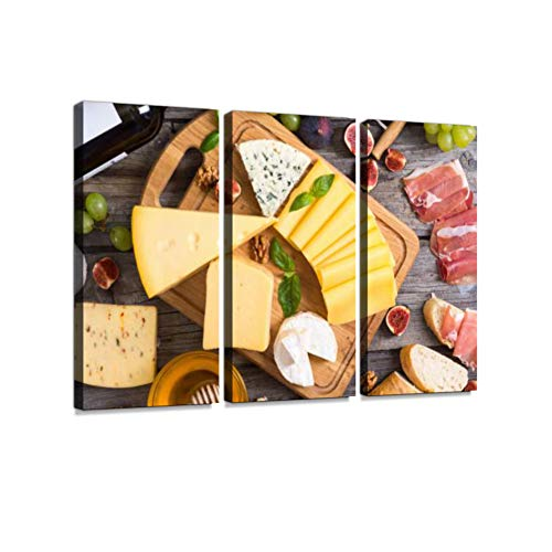 Different Kind of Cheese Print On Canvas Wall Artwork Modern Photography Home Decor Unique Pattern Stretched and Framed 3 Piece