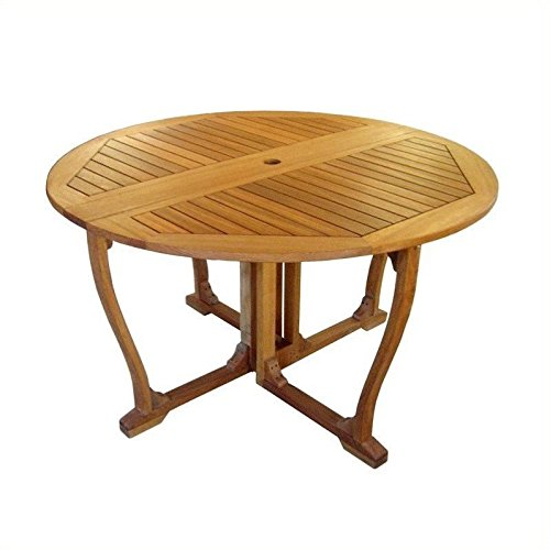 International Caravan TT-RT-005-IC Furniture Piece Royal Tahiti Round Wood Gate Leg Table For Sale