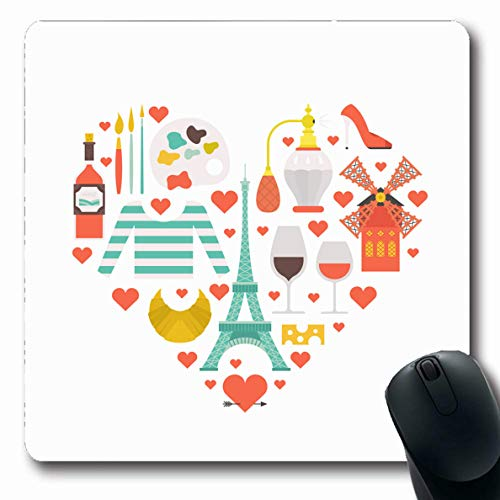 Ahawoso Mousepads for Computers Cheese Baguette Modern Flat French Cafe Rouge Clean Country Croissant Design Tourism Oblong Shape 7.9 x 9.5 Inches Non-Slip Oblong Gaming Mouse Pad