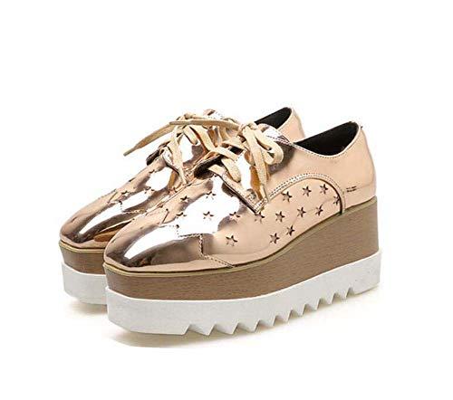 40 Estrella Escultura Vestir Casual hasta Gold UE Toe Tamaño Mujeres 4Cm Plataforma 7Cm Zapatos Bomba Zapatos Plataforma Zapatos Cuña Talón De 34 Impermeable Cuadrado Encaje gZaFCZq