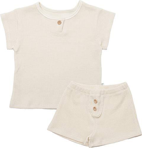 AVAUMA Waffle Knit Newborn Baby Little Boy Girl Pajamas Summer Short Sleeve Sets Pjs Kids Clothes (JM/Cream)