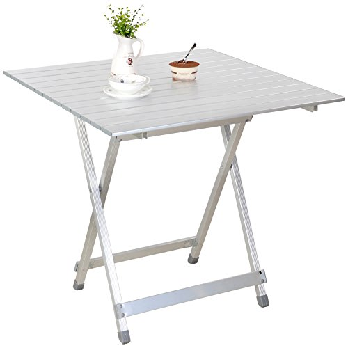 Snail Portable Aluminum Compact Fold-Away Side Table, Outdoor Camping Picnic Dining Table in a Carry Bag for Hiking BBQ Fishing Outdoor Activities, 27.6″ x 28″