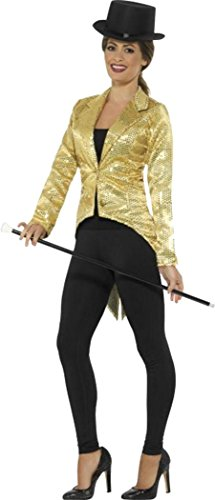 [Sequin Tailcoat Jacket, Ladies Gold Large (uk Dress 16-18)] (Sequin Tailcoat Costume)