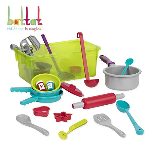 Battat - Cooking Set - Pretend Play Toy Dishes Set - Plastic Kitchen Toys for Toddlers 3 Years + (21-Pcs)
