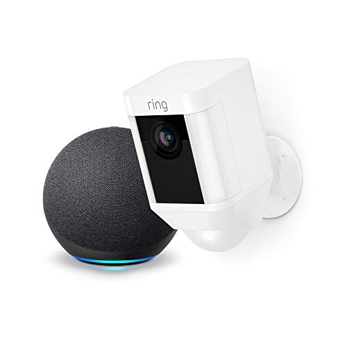 Ring Spotlight Cam Battery HD Security Camera (White) and Echo Dot (4th Gen)