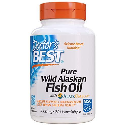 Doctor's Best Pure Wild Alaskan Fish Oil with AlaskOmega, Non-GMO, Gluten Free, 180 Marine Softgels
