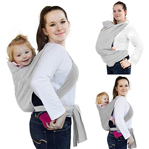 Viedouce Baby Wraps Slings for Newborns Toddler Carrier Lightweight Breathable Babywearing, Gray