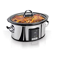 Crock-Pot 6.5-Quart, Olla de cocción lenta programable con pantalla táctil, Plateado, SCVT650-PS
