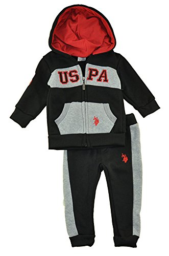 US Polo Assn Baby Boys Hoodie 2pc Sweat Pant Set (12M) ()