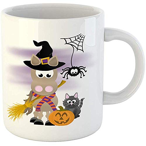(Coffee Tea Mug Gift 11 Oz Funny Ceramic Cartoon Horse Celebrating Halloween Wearing Witch Hat and Striped Scarf Holding Gifts For Family Friends Coworkers Boss)