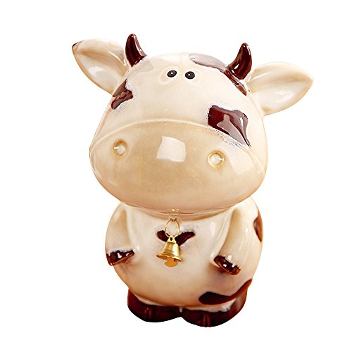 Baidecor Ceramic Obedient Dairy Cow Money Box Piggy Bank (Cow Box Money)